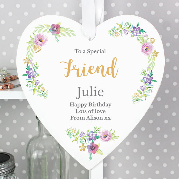 Personalised Any Role 'Floral Watercolour' 22cm Large Wooden Heart Decoration from Sassy Bloom Gifts - alternative view