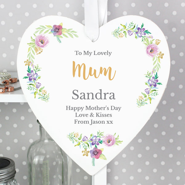 Personalised Any Role 'Floral Watercolour' 22cm Large Wooden Heart Decoration lifestyle image