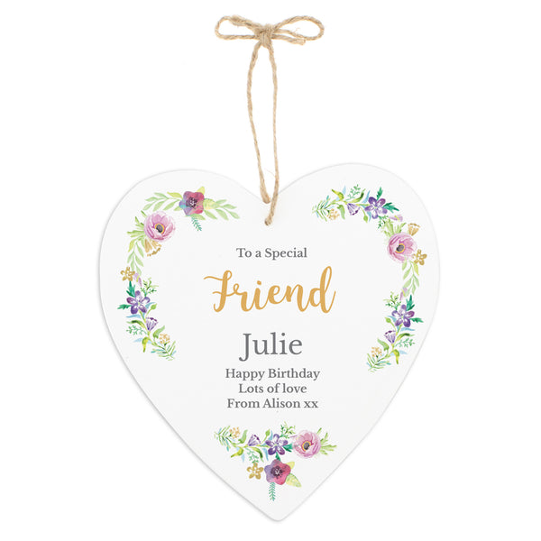 Personalised Any Role 'Floral Watercolour' 22cm Large Wooden Heart Decoration with personalised name