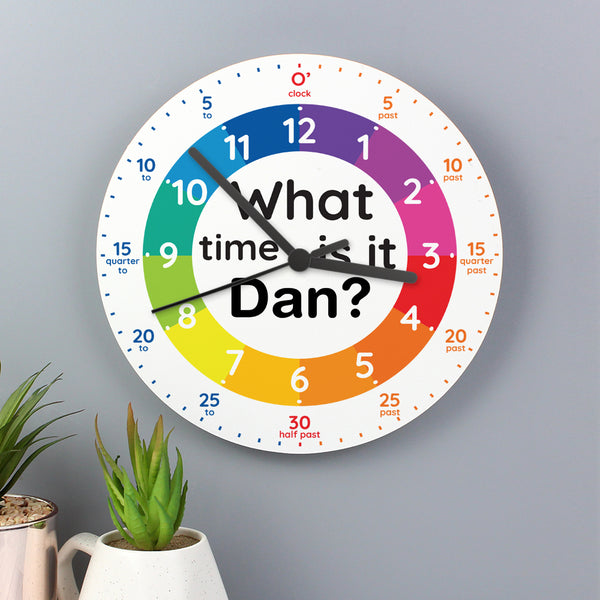 Personalised What Time Is It? Wooden Clock lifestyle image