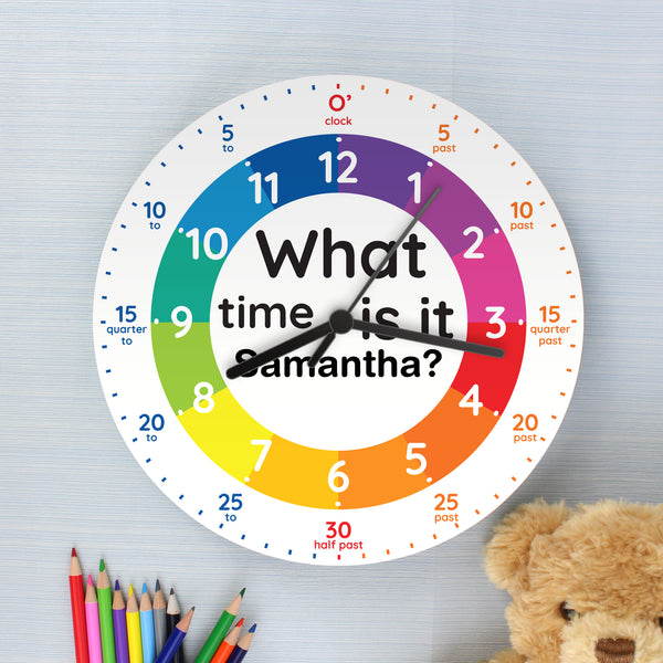 Personalised What Time Is It? Wooden Clock with personalised name