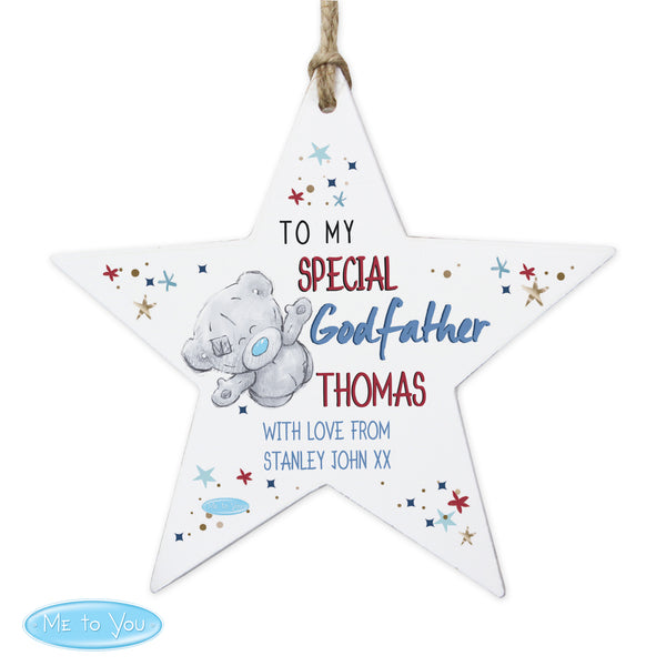 Personalised Me to You Godfather Wooden Star Decoration white background