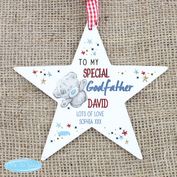 Personalised Me to You Godfather Wooden Star Decoration from Sassy Bloom Gifts - alternative view