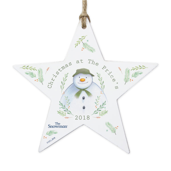 Personalised The Snowman Winter Garden Wooden Star Decoration white background