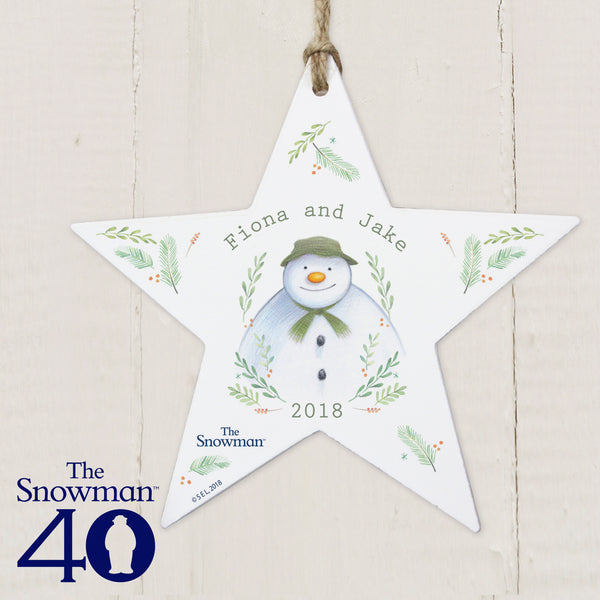 Personalised The Snowman Winter Garden Wooden Star Decoration from Sassy Bloom Gifts - alternative view