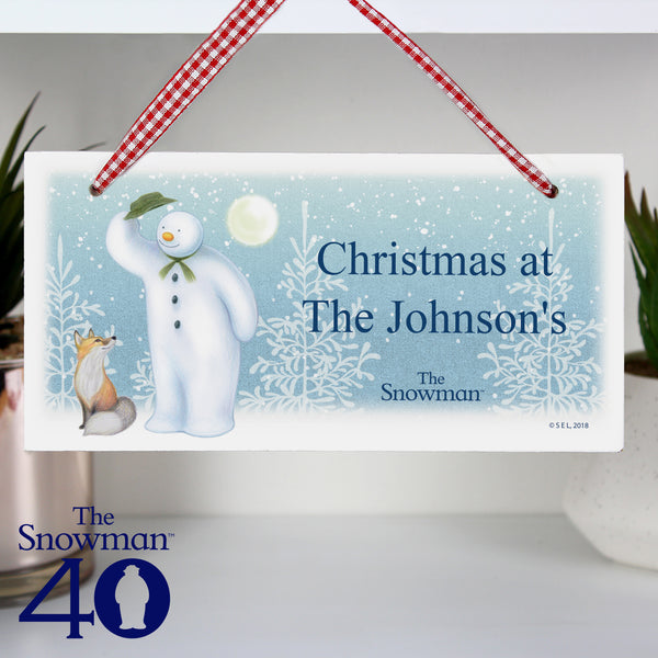 Personalised The Snowman Snow Wonder Wooden Sign lifestyle image