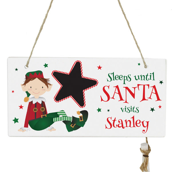 Personalised Elf Christmas Chalk Countdown Wooden Sign white background
