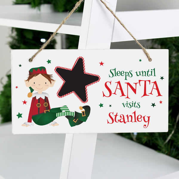 Personalised Elf Christmas Chalk Countdown Wooden Sign from Sassy Bloom Gifts - alternative view
