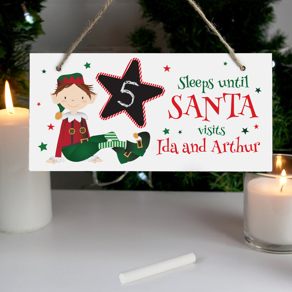 Personalised Elf Christmas Chalk Countdown Wooden Sign lifestyle image