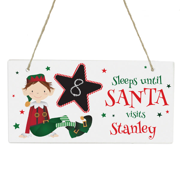 Personalised Elf Christmas Chalk Countdown Wooden Sign with personalised name