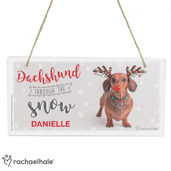 Personalised Rachael Hale Christmas Dachshund Through the Snow Wooden Sign white background