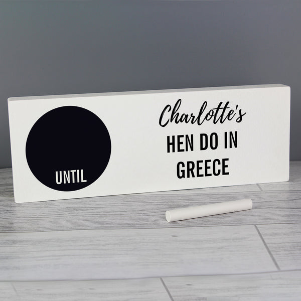 Personalised Classic Chalk Countdown Wooden Block Sign from Sassy Bloom Gifts - alternative view