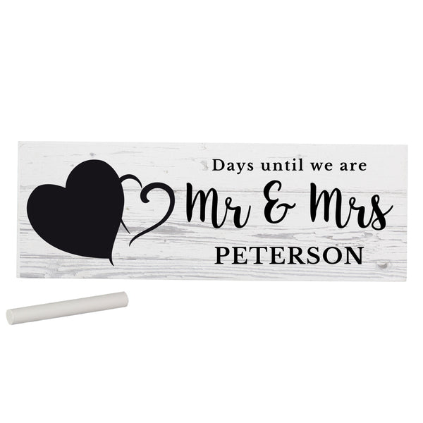 Personalised Rustic Chalk Countdown Wooden Block Sign white background