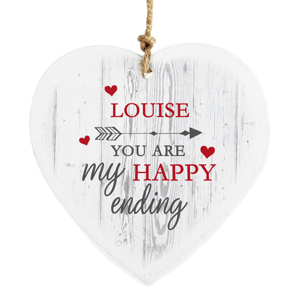 Personalised My Happy Ending Wooden Heart Decoration white background