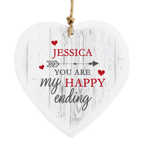 Personalised My Happy Ending Wooden Heart Decoration lifestyle image