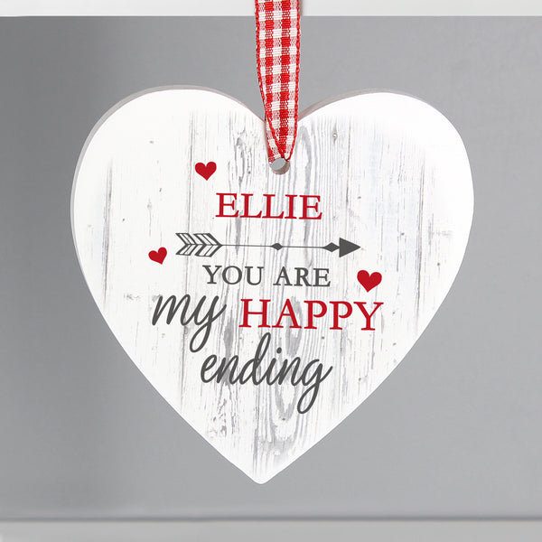 Personalised My Happy Ending Wooden Heart Decoration with personalised name