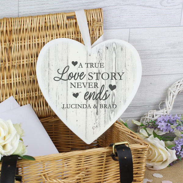 Personalised Love Story 22cm Large Wooden Heart Decoration from Sassy Bloom Gifts - alternative view