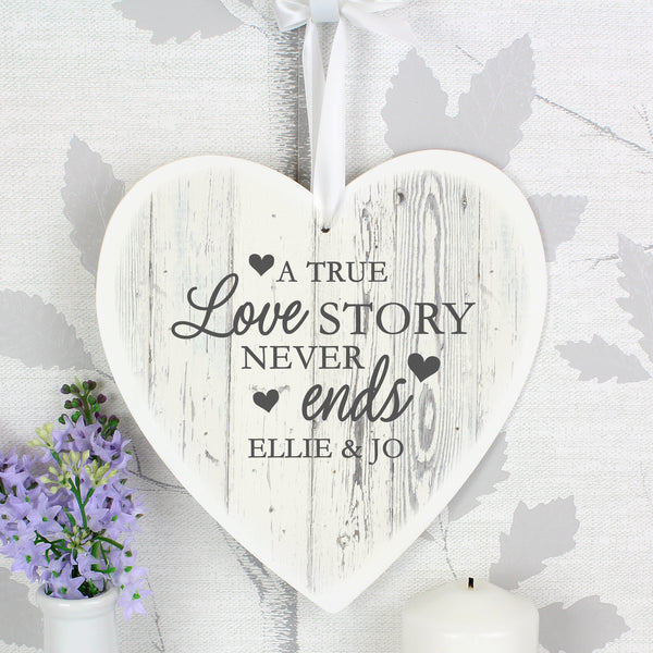 Personalised Love Story 22cm Large Wooden Heart Decoration lifestyle image