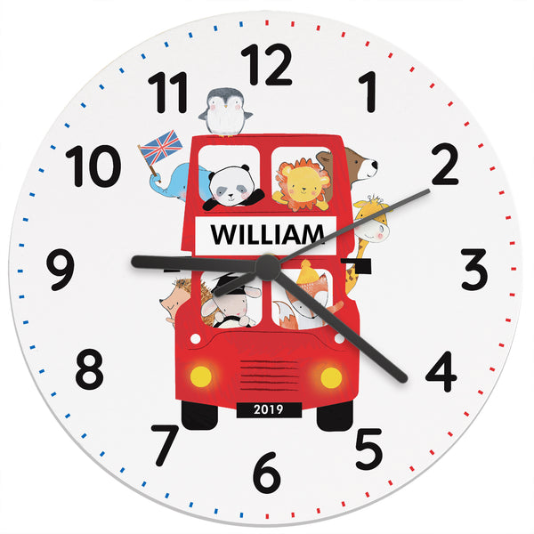 Personalised London Animal Bus Wooden Clock white background