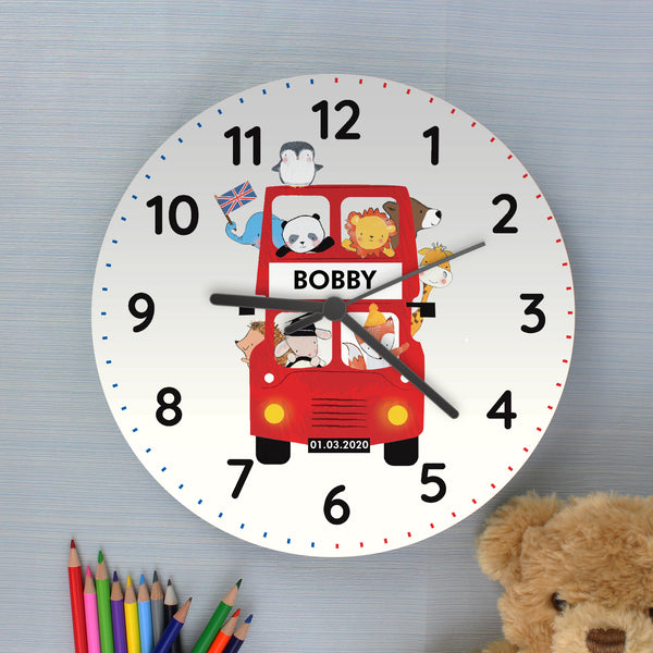 Personalised London Animal Bus Wooden Clock from Sassy Bloom Gifts - alternative view
