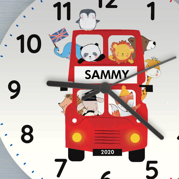 Personalised London Animal Bus Wooden Clock with personalised name