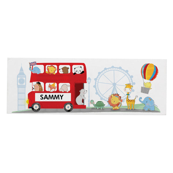Personalised London Animal Bus Wooden Block Sign white background