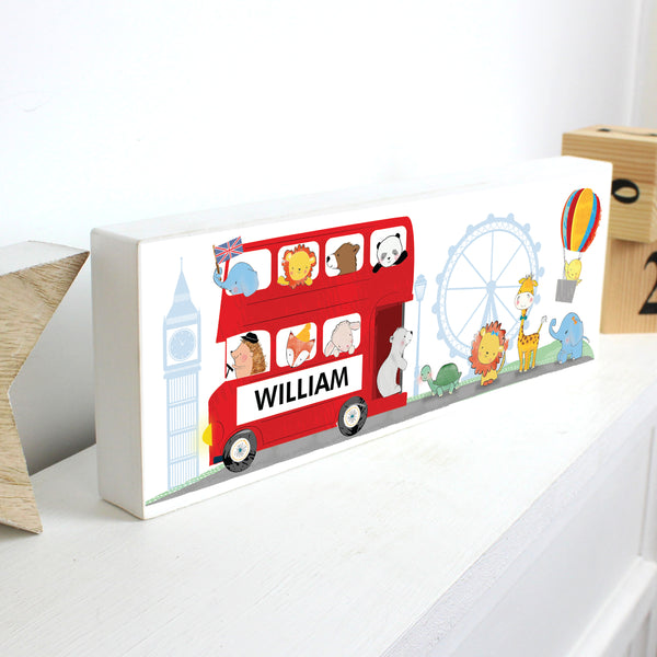 Personalised London Animal Bus Wooden Block Sign from Sassy Bloom Gifts - alternative view