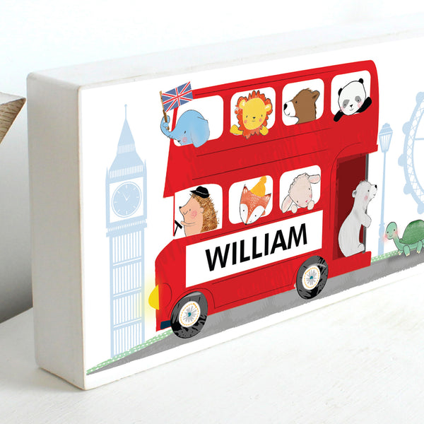 Personalised London Animal Bus Wooden Block Sign with personalised name