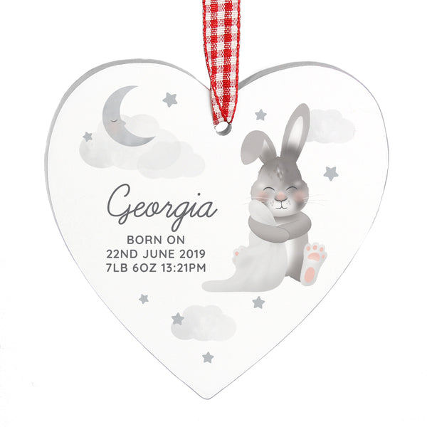 Personalised Baby Bunny Wooden Heart Decoration white background