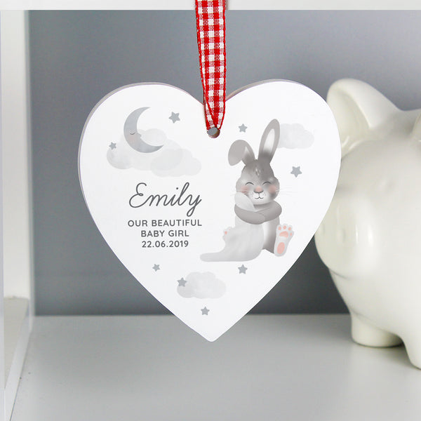 Personalised Baby Bunny Wooden Heart Decoration from Sassy Bloom Gifts - alternative view
