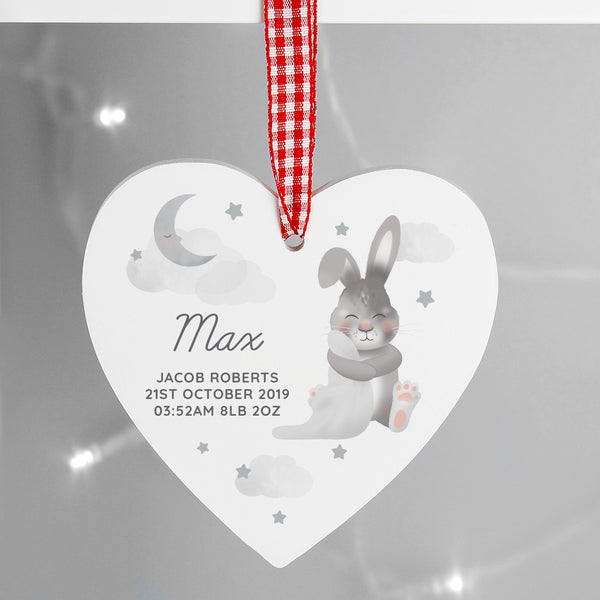 Personalised Baby Bunny Wooden Heart Decoration with personalised name