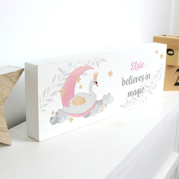 Personalised Swan Lake Wooden Block Sign from Sassy Bloom Gifts - alternative view
