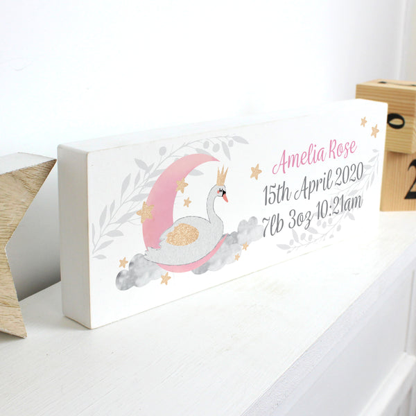 Personalised Swan Lake Wooden Block Sign lifestyle image