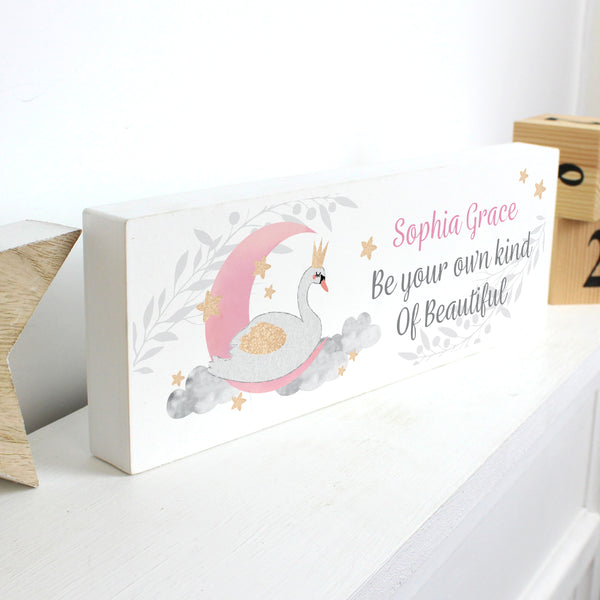 Personalised Swan Lake Wooden Block Sign with personalised name