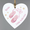 Personalised Swan Lake Ballet Wooden Heart Decoration