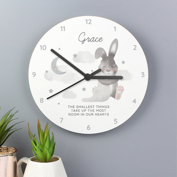 Personalised Baby Bunny White Wooden Clock with personalised name