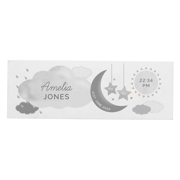 Personalised New Baby Moon & Stars Wooden Block Nursery Sign white background