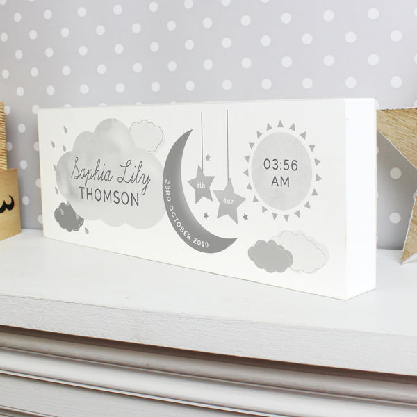 Personalised New Baby Moon & Stars Wooden Block Nursery Sign from Sassy Bloom Gifts - alternative view