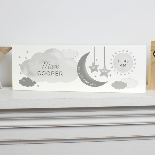 Personalised New Baby Moon & Stars Wooden Block Nursery Sign lifestyle image