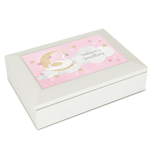 Personalised Swan Lake Jewellery Box white background