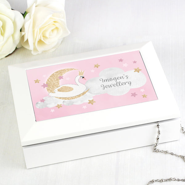 Personalised Swan Lake Jewellery Box with personalised name