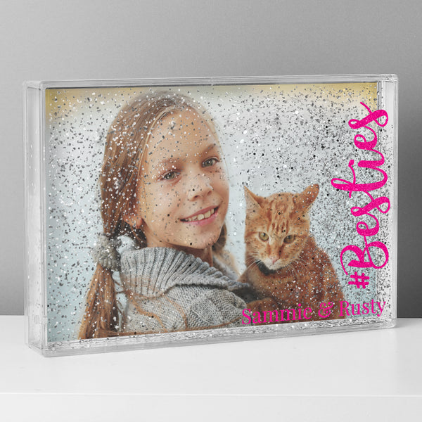 Personalised #Besties 6x4 Glitter Shaker Photo Frame lifestyle image