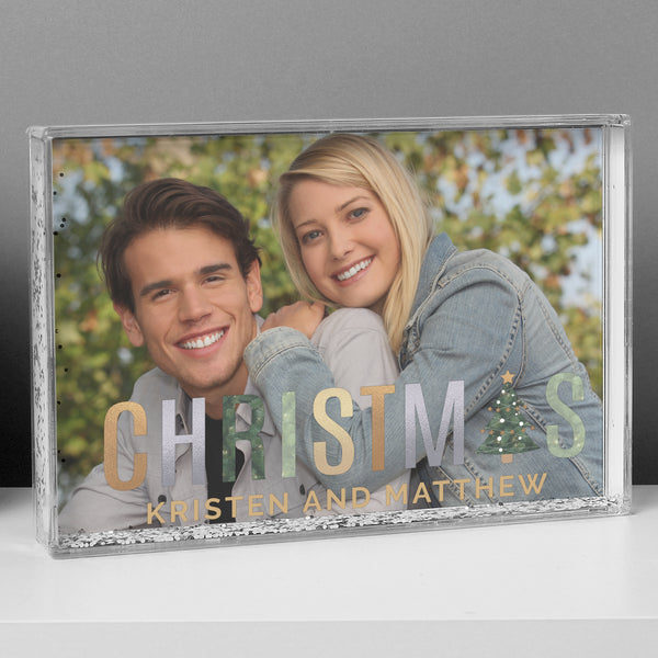 Personalised Christmas 6x4 Glitter Shaker Photo Frame lifestyle image
