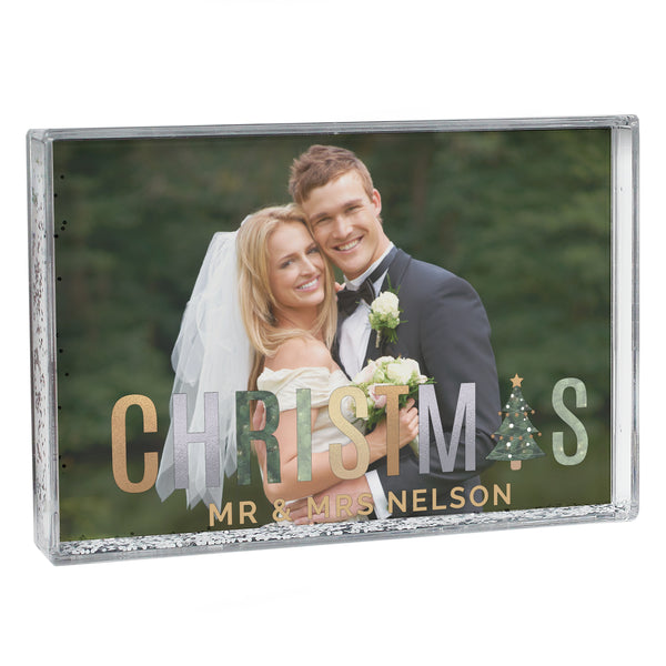 Personalised Christmas 6x4 Glitter Shaker Photo Frame with personalised name