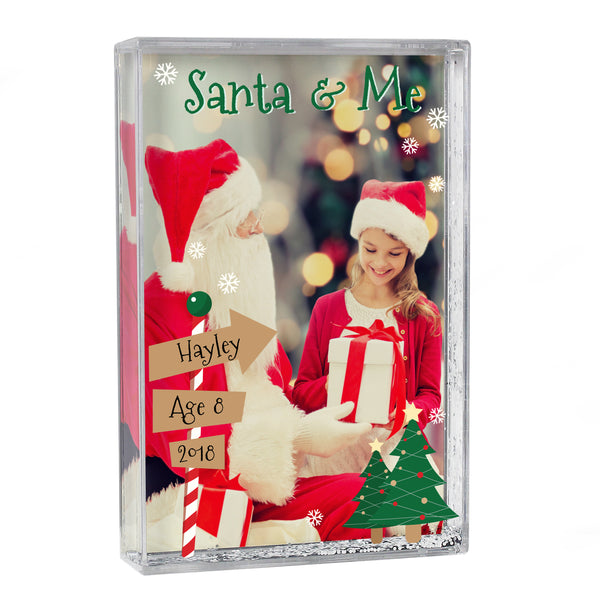 Personalised Santa & Me 4x6 Glitter Shaker Photo Frame white background