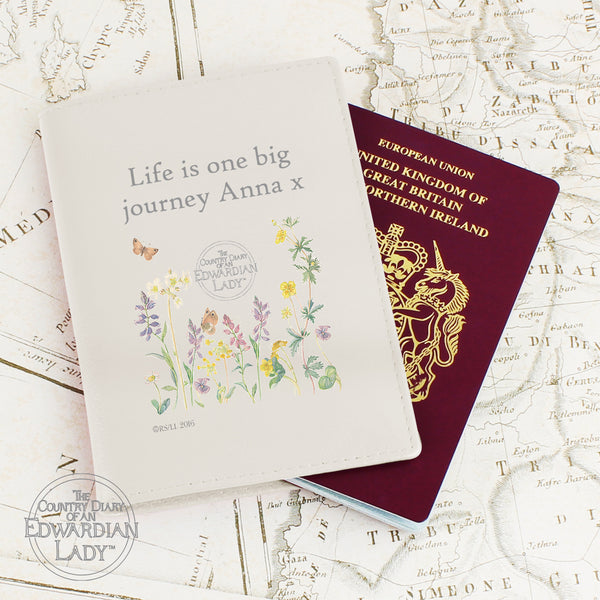 Personalised Country Diary Wild Flowers Cream Passport Holder white background