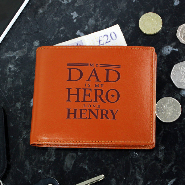 Personalised My Dad is My Hero Tan Leather Wallet white background