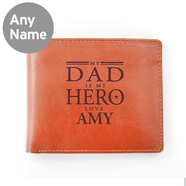 Personalised My Dad is My Hero Tan Leather Wallet from Sassy Bloom Gifts - alternative view