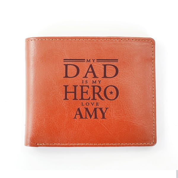 Personalised My Dad is My Hero Tan Leather Wallet lifestyle image