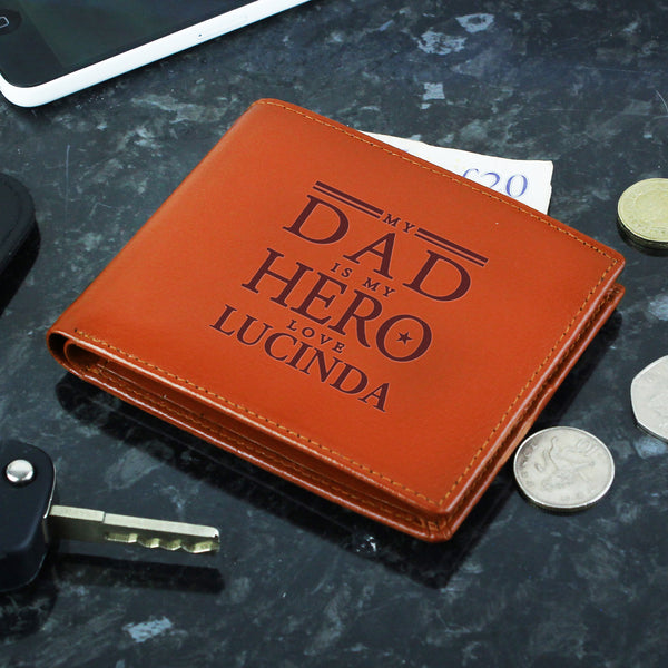 Personalised My Dad is My Hero Tan Leather Wallet with personalised name